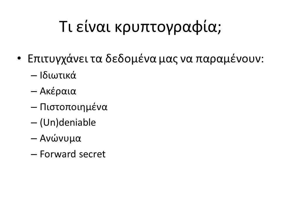 Τι είναι κρυπτογραφία; Επιτυγχάνει τα δεδομένα μας να παραμένουν: – Ιδιωτικά – Ακέραια – Πιστοποιημένα – (Un)deniable – Ανώνυμα – Forward secret