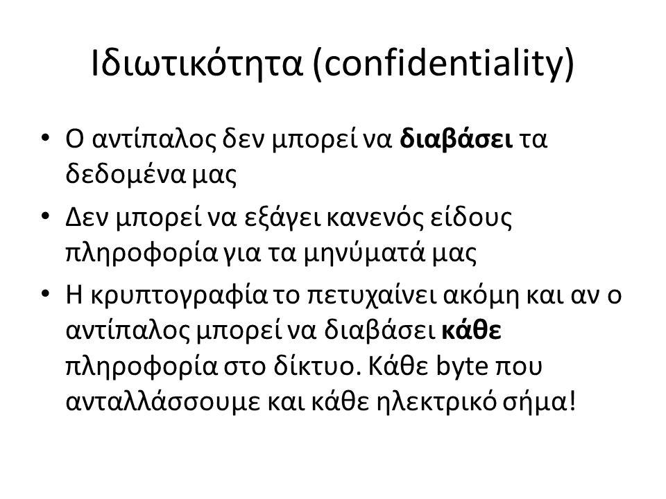 Ιδιωτικότητα (confidentiality) Ο αντίπαλος δεν μπορεί να διαβάσει τα δεδομένα μας Δεν μπορεί να εξάγει κανενός είδους πληροφορία για τα μηνύματά μας Η κρυπτογραφία το πετυχαίνει ακόμη και αν ο αντίπαλος μπορεί να διαβάσει κάθε πληροφορία στο δίκτυο.