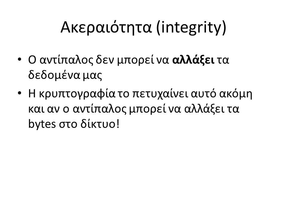 Ακεραιότητα (integrity) Ο αντίπαλος δεν μπορεί να αλλάξει τα δεδομένα μας Η κρυπτογραφία το πετυχαίνει αυτό ακόμη και αν ο αντίπαλος μπορεί να αλλάξει