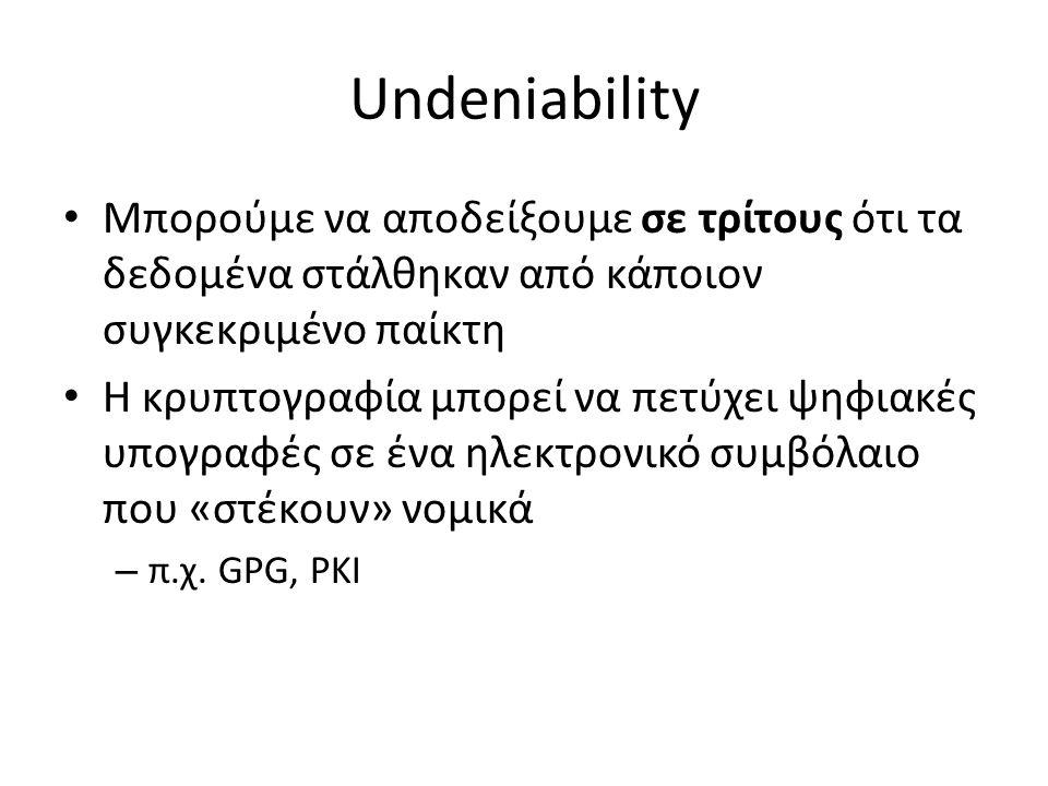 Undeniability Μπορούμε να αποδείξουμε σε τρίτους ότι τα δεδομένα στάλθηκαν από κάποιον συγκεκριμένο παίκτη Η κρυπτογραφία μπορεί να πετύχει ψηφιακές υπογραφές σε ένα ηλεκτρονικό συμβόλαιο που «στέκουν» νομικά – π.χ.