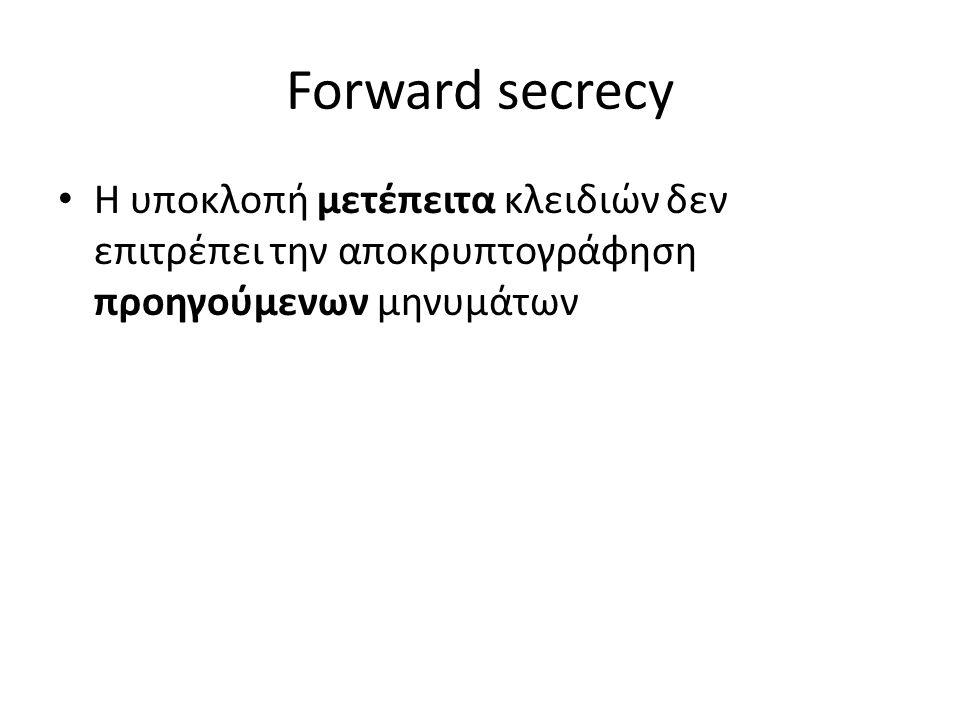 Forward secrecy Η υποκλοπή μετέπειτα κλειδιών δεν επιτρέπει την αποκρυπτογράφηση προηγούμενων μηνυμάτων