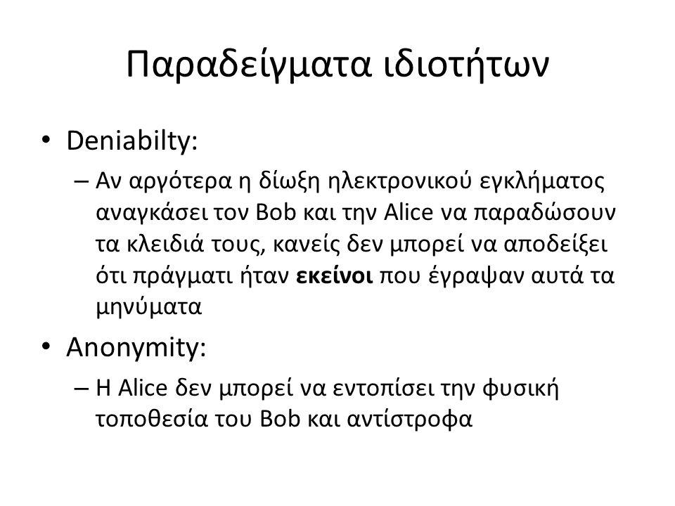 Παραδείγματα ιδιοτήτων Deniabilty: – Αν αργότερα η δίωξη ηλεκτρονικού εγκλήματος αναγκάσει τον Bob και την Alice να παραδώσουν τα κλειδιά τους, κανείς