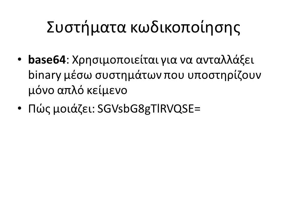 Συστήματα κωδικοποίησης base64: Χρησιμοποιείται για να ανταλλάξει binary μέσω συστημάτων που υποστηρίζουν μόνο απλό κείμενο Πώς μοιάζει: SGVsbG8gTlRVQSE=