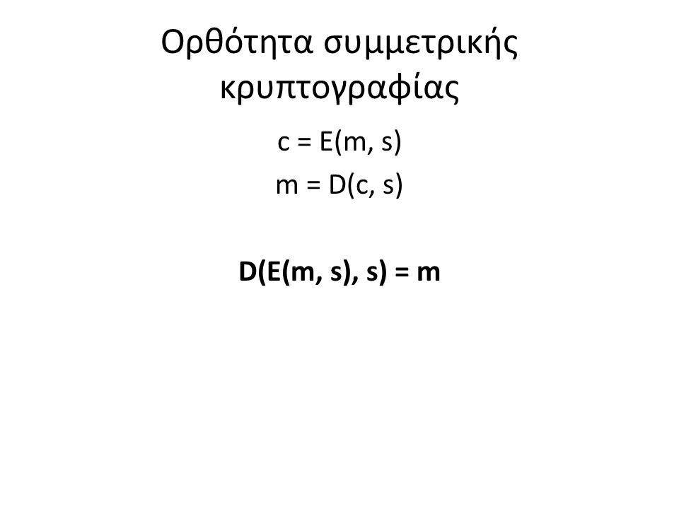 Ορθότητα συμμετρικής κρυπτογραφίας c = E(m, s) m = D(c, s) D(E(m, s), s) = m
