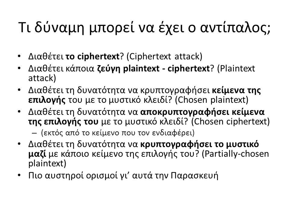 Τι δύναμη μπορεί να έχει ο αντίπαλος; Διαθέτει το ciphertext? (Ciphertext attack) Διαθέτει κάποια ζεύγη plaintext - ciphertext? (Plaintext attack) Δια