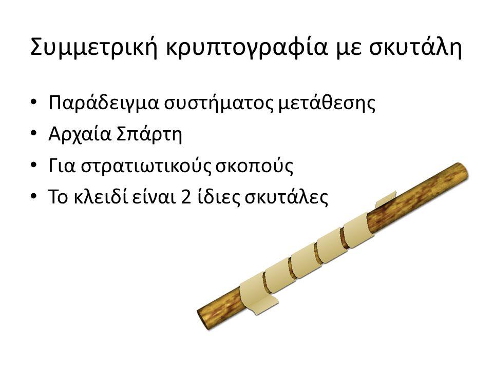 Συμμετρική κρυπτογραφία με σκυτάλη Παράδειγμα συστήματος μετάθεσης Αρχαία Σπάρτη Για στρατιωτικούς σκοπούς Το κλειδί είναι 2 ίδιες σκυτάλες