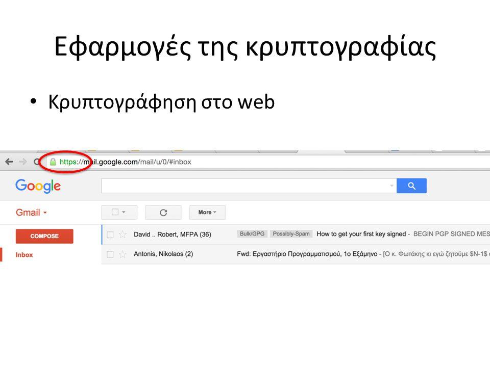Εφαρμογές της κρυπτογραφίας Κρυπτογράφηση e-mail
