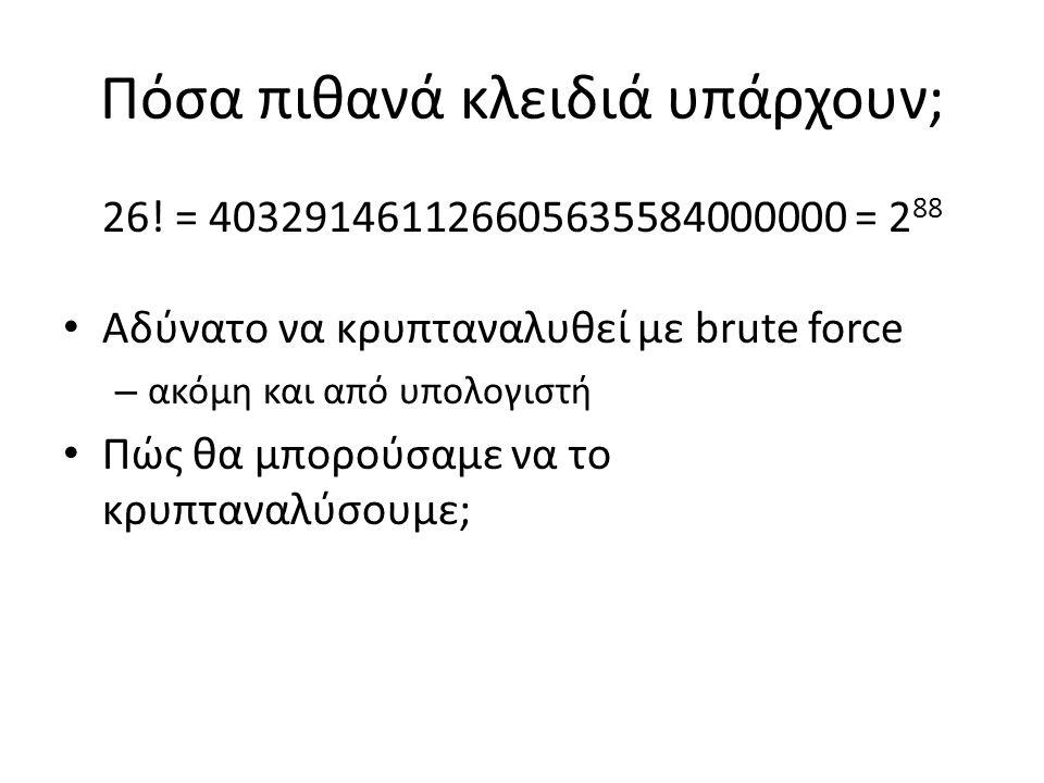 Πόσα πιθανά κλειδιά υπάρχουν; 26! = 403291461126605635584000000 = 2 88 Αδύνατο να κρυπταναλυθεί με brute force – ακόμη και από υπολογιστή Πώς θα μπορο