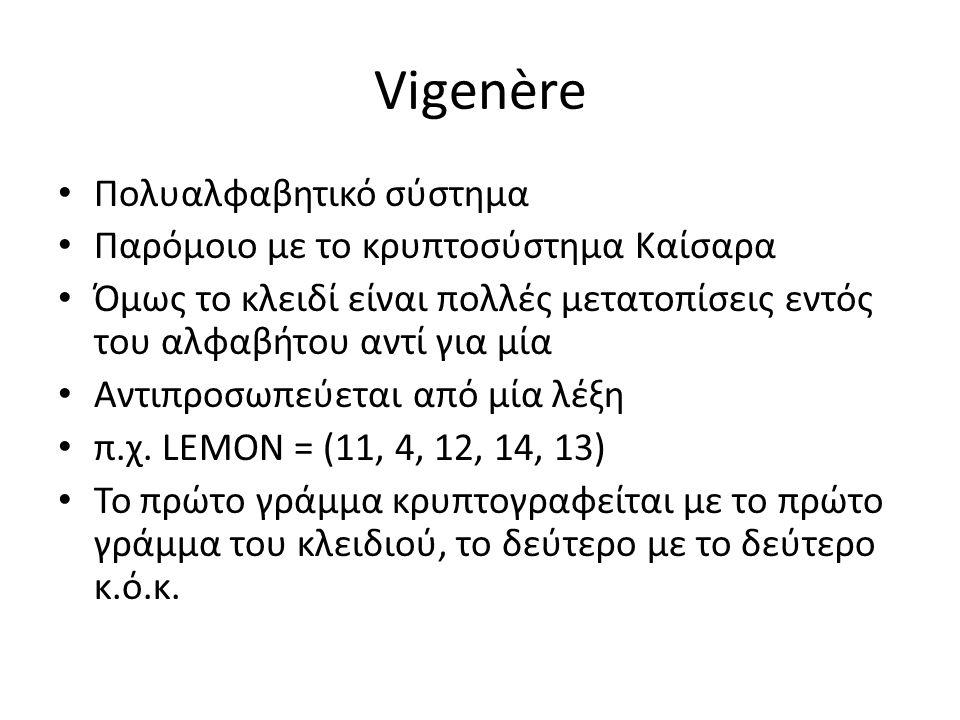 Vigenère Πολυαλφαβητικό σύστημα Παρόμοιο με το κρυπτοσύστημα Καίσαρα Όμως το κλειδί είναι πολλές μετατοπίσεις εντός του αλφαβήτου αντί για μία Αντιπροσωπεύεται από μία λέξη π.χ.