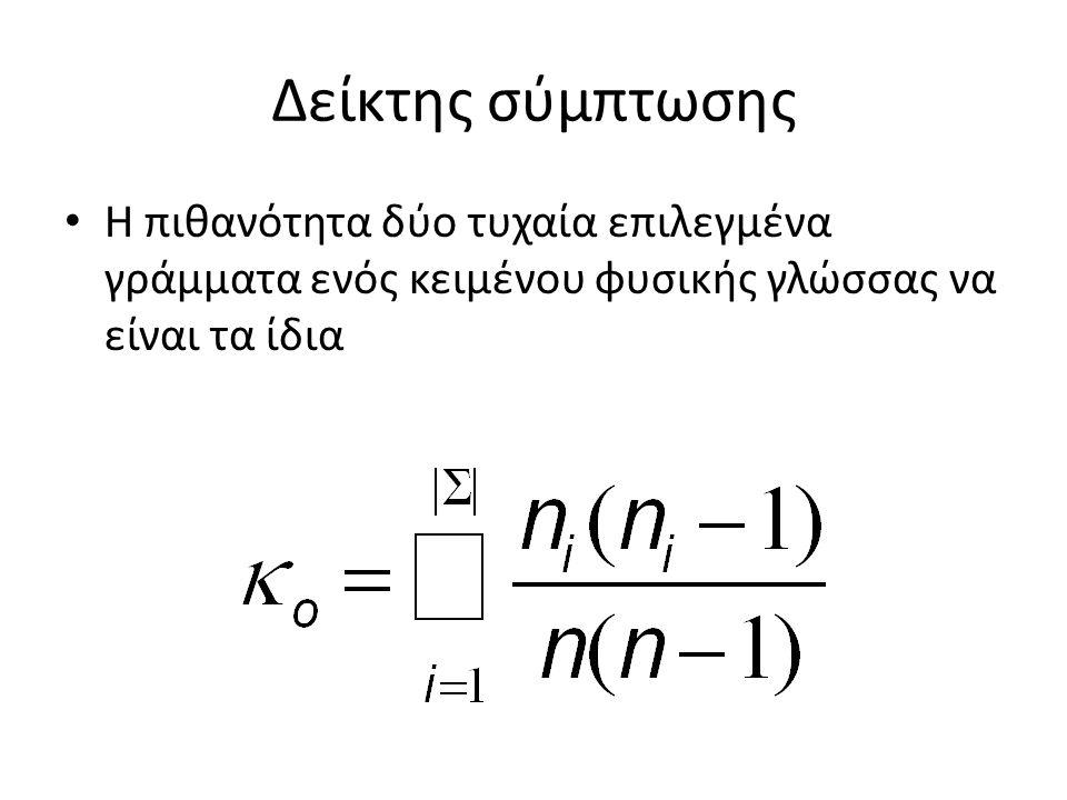 Δείκτης σύμπτωσης Η πιθανότητα δύο τυχαία επιλεγμένα γράμματα ενός κειμένου φυσικής γλώσσας να είναι τα ίδια
