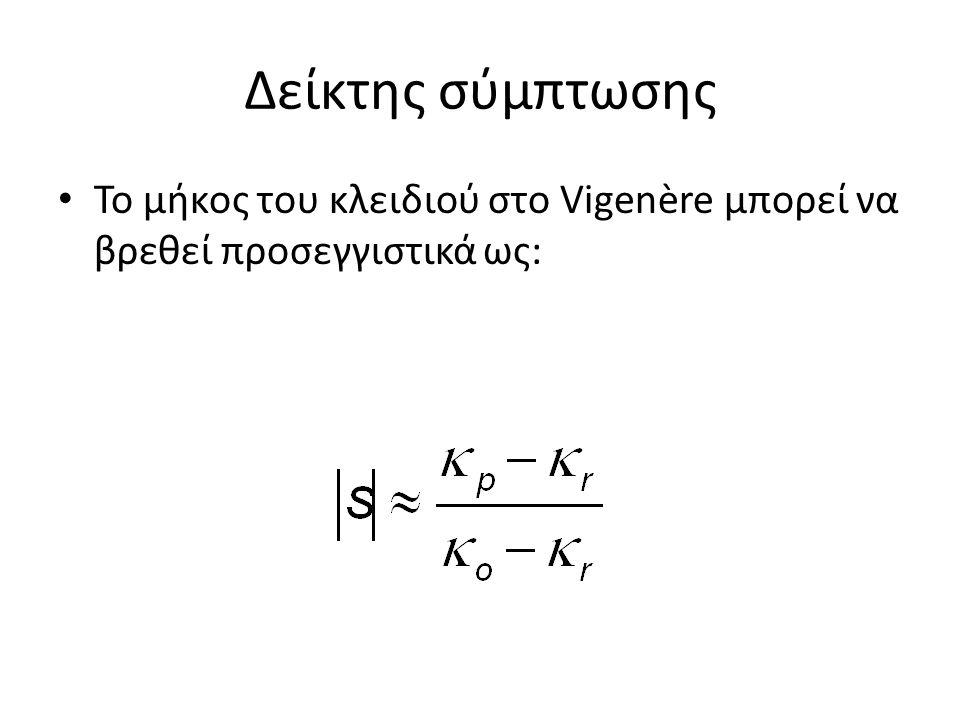 Δείκτης σύμπτωσης Το μήκος του κλειδιού στο Vigenère μπορεί να βρεθεί προσεγγιστικά ως: