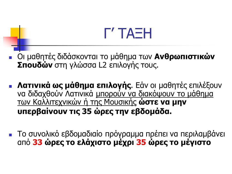 ΜΑΘΗΜΑΤΑ Γ΄ΤΑΞΗΣ Μητρική Γλώσσα L1 - Ελληνικά 4 ώρες Μαθηματικά 4 ώρες L2 (αγγλικά /γαλλικά/γερμανικά) 4 ώρες L3 (γαλλικά/γερμανικά/ιταλικά /ισπανικά) 3 ώρες Αρχαία Ελληνικά 2 ώρες Φυσική Αγωγή 3 ώρες Θρησκευτικά/Ηθική 2 ώρες Ανθρωπιστικές Επιστήμες - 3 ώρες Φυσικές Επιστήμες - 4 ώρες ΣΥΝΟΛΟ 29 ώρες Λατινικά (επιλογής) - 4 ώρες Καλλιτεχνικά - 2 ώρες Μουσική - 2 ώρες