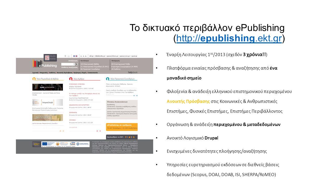 Το δικτυακό περιβάλλον ePublishing (http://epublishing.ekt.gr)http://epublishing.ekt.gr Έναρξη Λειτουργίας 1 ος /2013 (σχεδόν 3 χρόνια!.