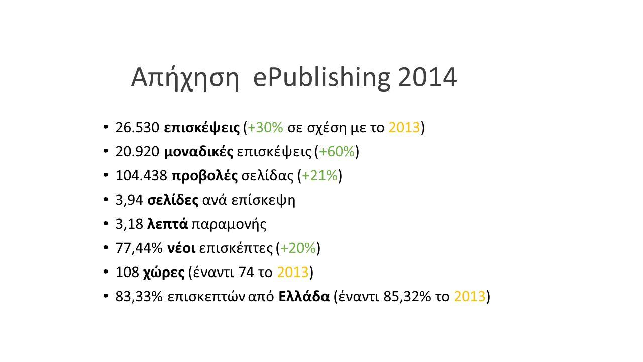 Απήχηση ePublishing 2014 26.530 επισκέψεις (+30% σε σχέση με το 2013) 20.920 μοναδικές επισκέψεις (+60%) 104.438 προβολές σελίδας (+21%) 3,94 σελίδες ανά επίσκεψη 3,18 λεπτά παραμονής 77,44% νέοι επισκέπτες (+20%) 108 χώρες (έναντι 74 το 2013) 83,33% επισκεπτών από Ελλάδα (έναντι 85,32% το 2013)