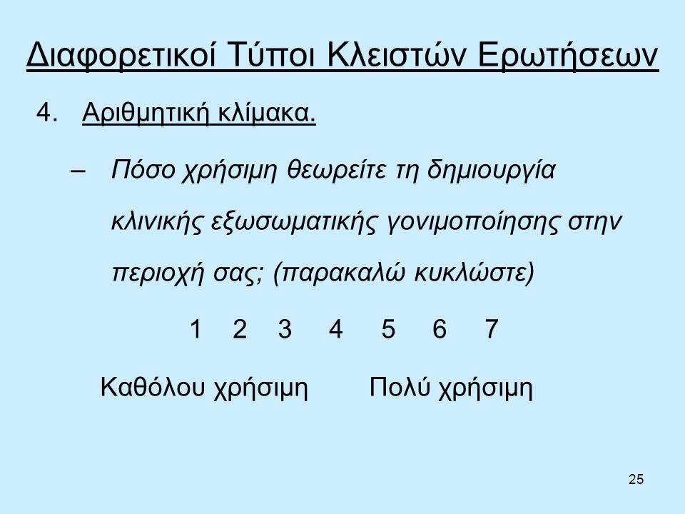 25 Διαφορετικοί Τύποι Κλειστών Ερωτήσεων 4.Αριθμητική κλίμακα.