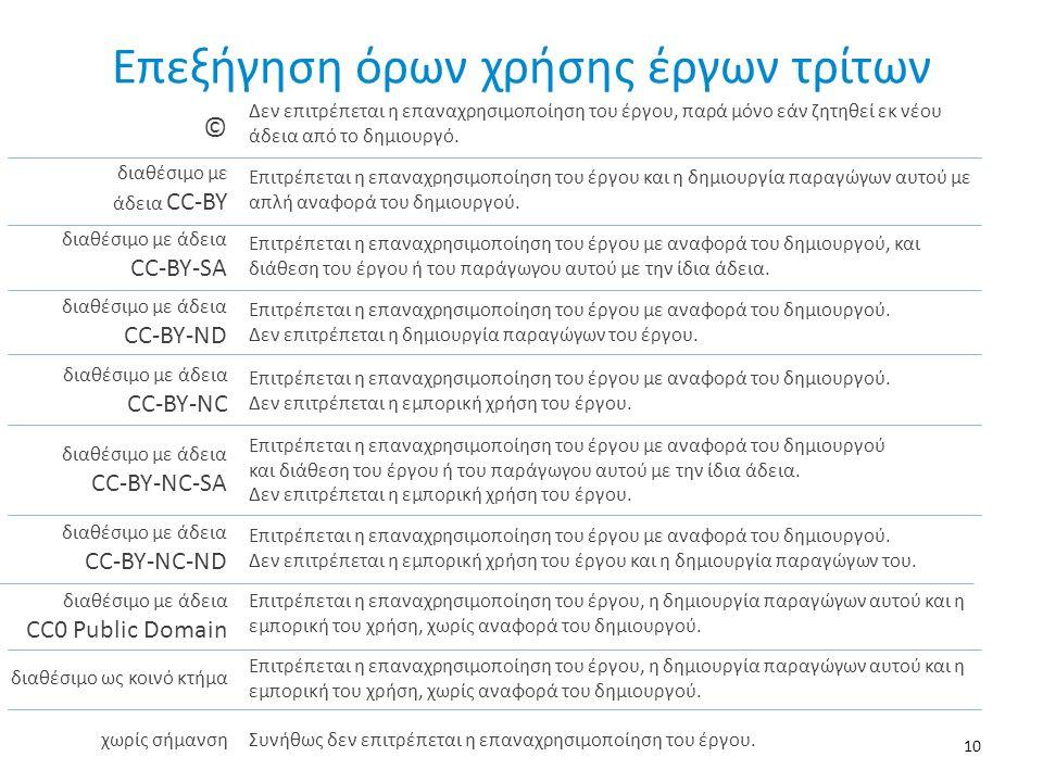 Επεξήγηση όρων χρήσης έργων τρίτων 10 Δεν επιτρέπεται η επαναχρησιμοποίηση του έργου, παρά μόνο εάν ζητηθεί εκ νέου άδεια από το δημιουργό. © διαθέσιμ