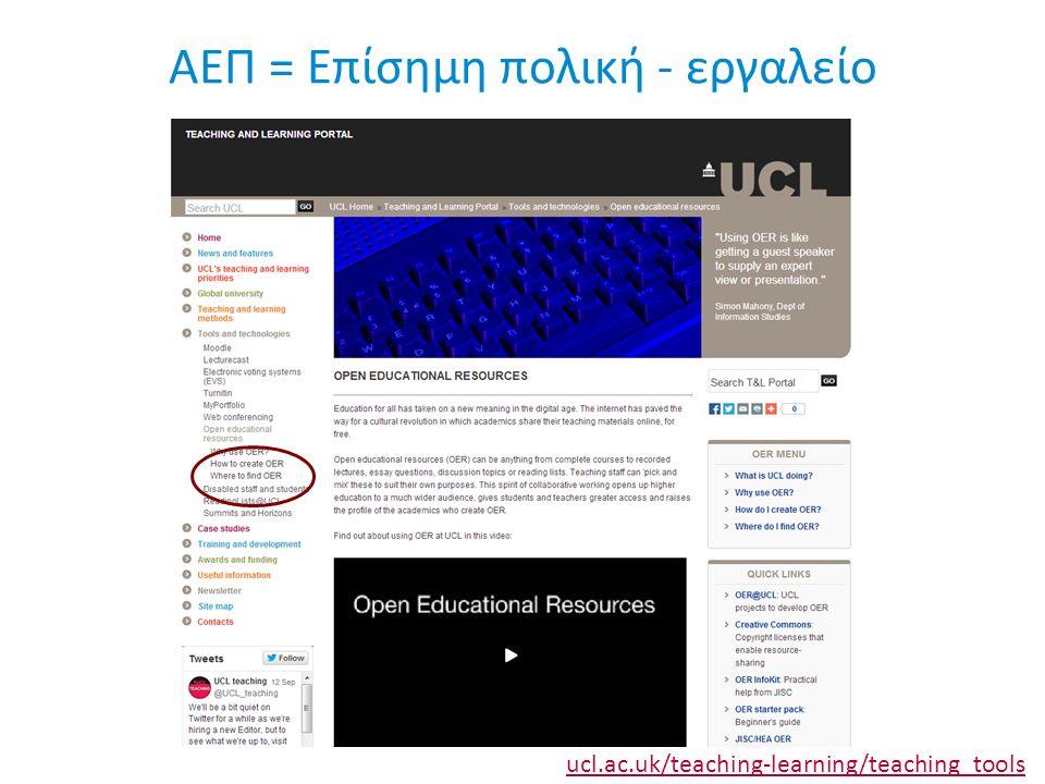 ΑΕΠ = Επίσημη πολική - εργαλείο ucl.ac.uk/teaching-learning/teaching_tools