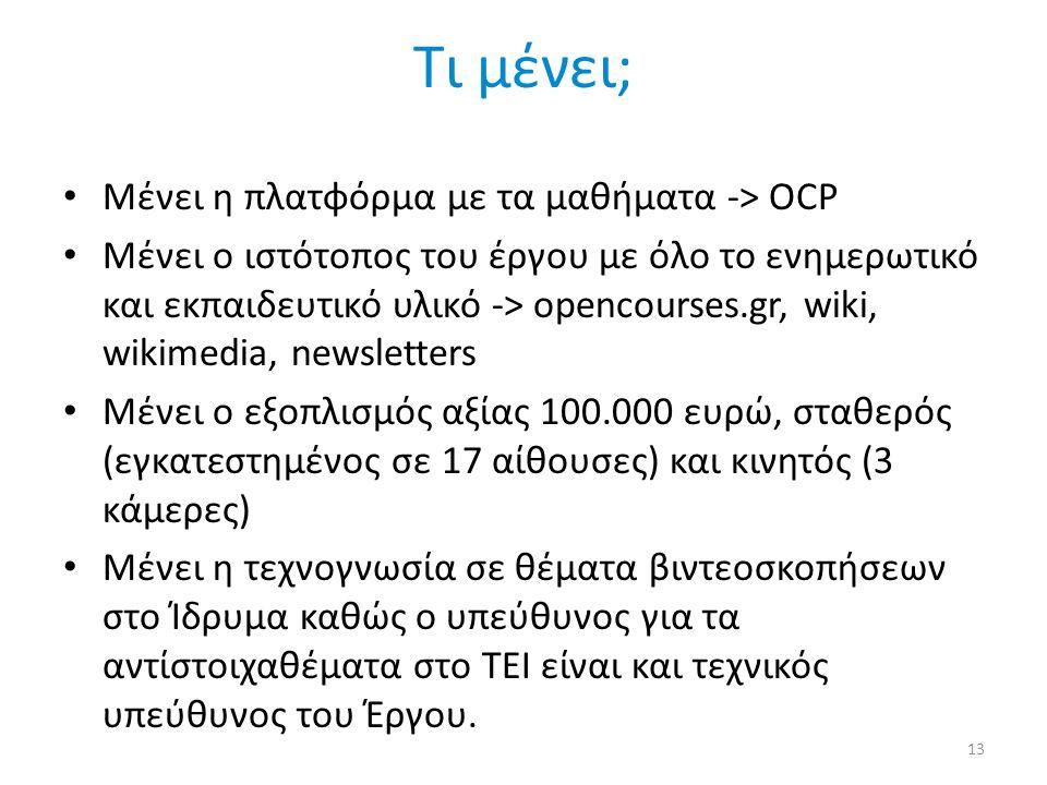Τι μένει; Μένει η πλατφόρμα με τα μαθήματα -> OCP Μένει ο ιστότοπος του έργου με όλο το ενημερωτικό και εκπαιδευτικό υλικό -> opencourses.gr, wiki, wikimedia, newsletters Μένει ο εξοπλισμός αξίας 100.000 ευρώ, σταθερός (εγκατεστημένος σε 17 αίθουσες) και κινητός (3 κάμερες) Μένει η τεχνογνωσία σε θέματα βιντεοσκοπήσεων στο Ίδρυμα καθώς ο υπεύθυνος για τα αντίστοιχαθέματα στο ΤΕΙ είναι και τεχνικός υπεύθυνος του Έργου.