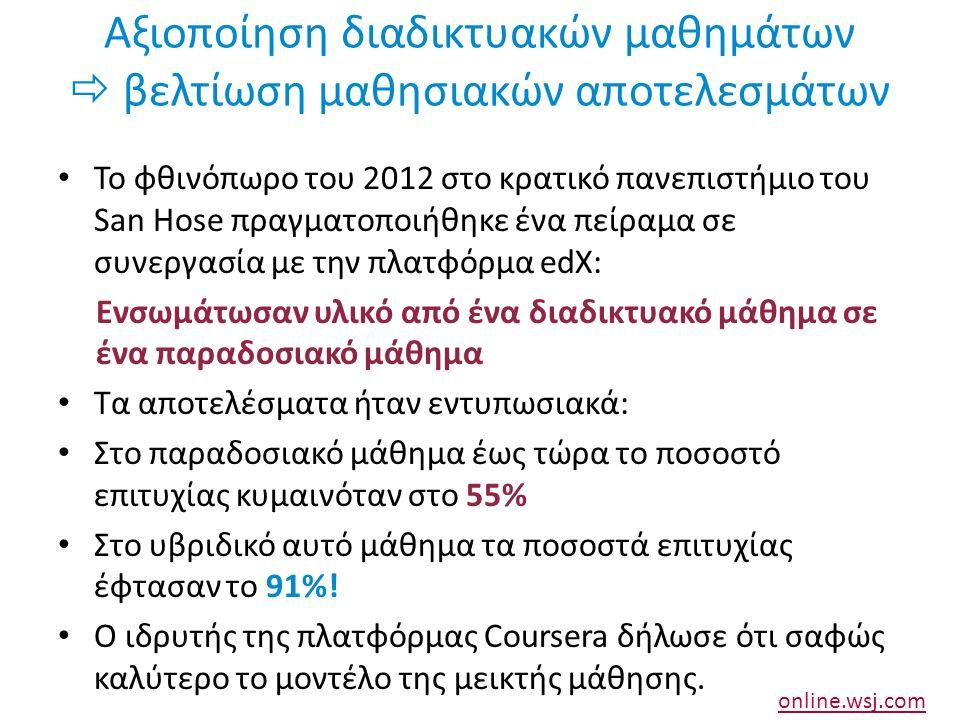 Αξιοποίηση διαδικτυακών μαθημάτων  βελτίωση μαθησιακών αποτελεσμάτων Το φθινόπωρο του 2012 στο κρατικό πανεπιστήμιο του San Hose πραγματοποιήθηκε ένα