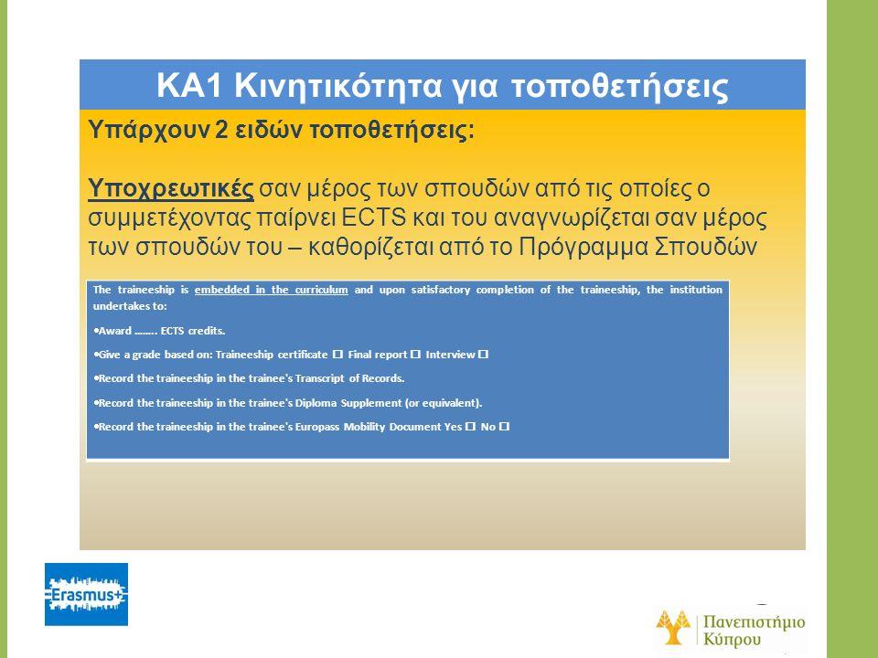 KA1 Κινητικότητα για τοποθετήσεις Υπάρχουν 2 ειδών τοποθετήσεις: Υποχρεωτικές σαν μέρος των σπουδών από τις οποίες ο συμμετέχοντας παίρνει ECTS και του αναγνωρίζεται σαν μέρος των σπουδών του – καθορίζεται από το Πρόγραμμα Σπουδών The traineeship is embedded in the curriculum and upon satisfactory completion of the traineeship, the institution undertakes to:  Award ……..