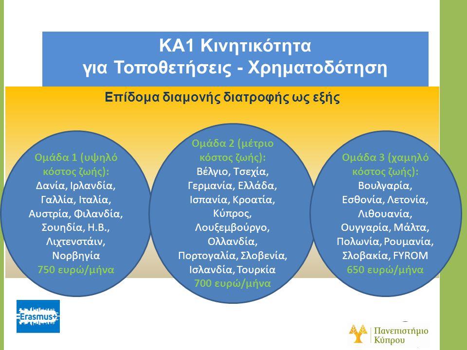 KA1 Κινητικότητα για Τοποθετήσεις - Χρηματοδότηση Επίδομα διαμονής διατροφής ως εξής Ομάδα 1 (υψηλό κόστος ζωής): Δανία, Ιρλανδία, Γαλλία, Ιταλία, Αυστρία, Φιλανδία, Σουηδία, Η.Β., Λιχτενστάιν, Νορβηγία 750 ευρώ/μήνα Ομάδα 2 (μέτριο κόστος ζωής): Βέλγιο, Τσεχία, Γερμανία, Ελλάδα, Ισπανία, Κροατία, Κύπρος, Λουξεμβούργο, Ολλανδία, Πορτογαλία, Σλοβενία, Ισλανδία, Τουρκία 700 ευρώ/μήνα Ομάδα 3 (χαμηλό κόστος ζωής): Βουλγαρία, Εσθονία, Λετονία, Λιθουανία, Ουγγαρία, Μάλτα, Πολωνία, Ρουμανία, Σλοβακία, FYROM 650 ευρώ/μήνα