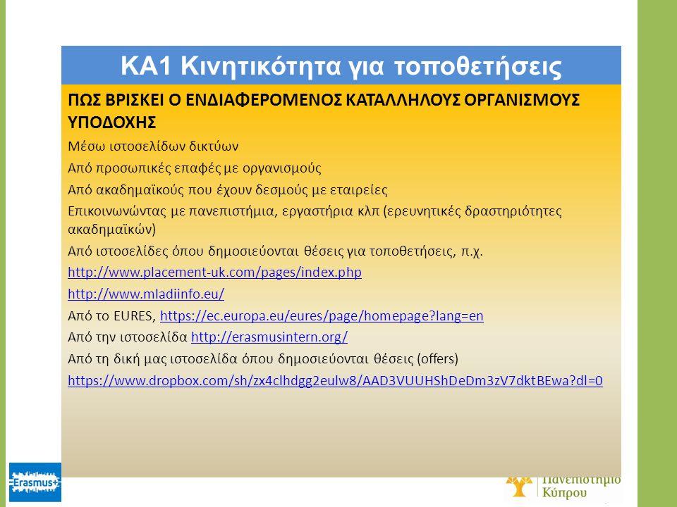 KA1 Κινητικότητα για τοποθετήσεις ΠΩΣ ΒΡΙΣΚΕΙ Ο ΕΝΔΙΑΦΕΡΟΜΕΝΟΣ ΚΑΤΑΛΛΗΛΟΥΣ ΟΡΓΑΝΙΣΜΟΥΣ ΥΠΟΔΟΧΗΣ Μέσω ιστοσελίδων δικτύων Από προσωπικές επαφές με οργανισμούς Από ακαδημαϊκούς που έχουν δεσμούς με εταιρείες Επικοινωνώντας με πανεπιστήμια, εργαστήρια κλπ (ερευνητικές δραστηριότητες ακαδημαϊκών) Από ιστοσελίδες όπου δημοσιεύονται θέσεις για τοποθετήσεις, π.χ.