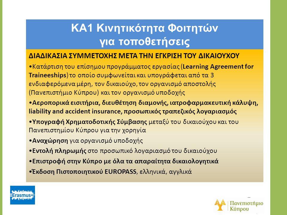 KA1 Κινητικότητα Φοιτητών για τοποθετήσεις ΔΙΑΔΙΚΑΣΙΑ ΣΥΜΜΕΤΟΧΗΣ ΜΕΤΑ ΤΗΝ ΕΓΚΡΙΣΗ ΤΟΥ ΔΙΚΑΙΟΥΧΟΥ Κατάρτιση του επίσημου προγράμματος εργασίας (Learning Agreement for Traineeships) το οποίο συμφωνείται και υπογράφεται από τα 3 ενδιαφερόμενα μέρη, τον δικαιούχο, τον οργανισμό αποστολής (Πανεπιστήμιο Κύπρου) και τον οργανισμό υποδοχής Αεροπoρικά εισιτήρια, διευθέτηση διαμονής, ιατροφαρμακευτική κάλυψη, liability and accident insurance, προσωπικός τραπεζικός λογαριασμός Υπογραφή Χρηματοδοτικής Σύμβασης μεταξύ του δικαιούχου και του Πανεπιστημίου Κύπρου για την χορηγία Αναχώρηση για οργανισμό υποδοχής Εντολή πληρωμής στο προσωπικό λογαριασμό του δικαιούχου Επιστροφή στην Κύπρο με όλα τα απαραίτητα δικαιολογητικά Έκδοση Πιστοποιητικού EUROPASS, ελληνικά, αγγλικά