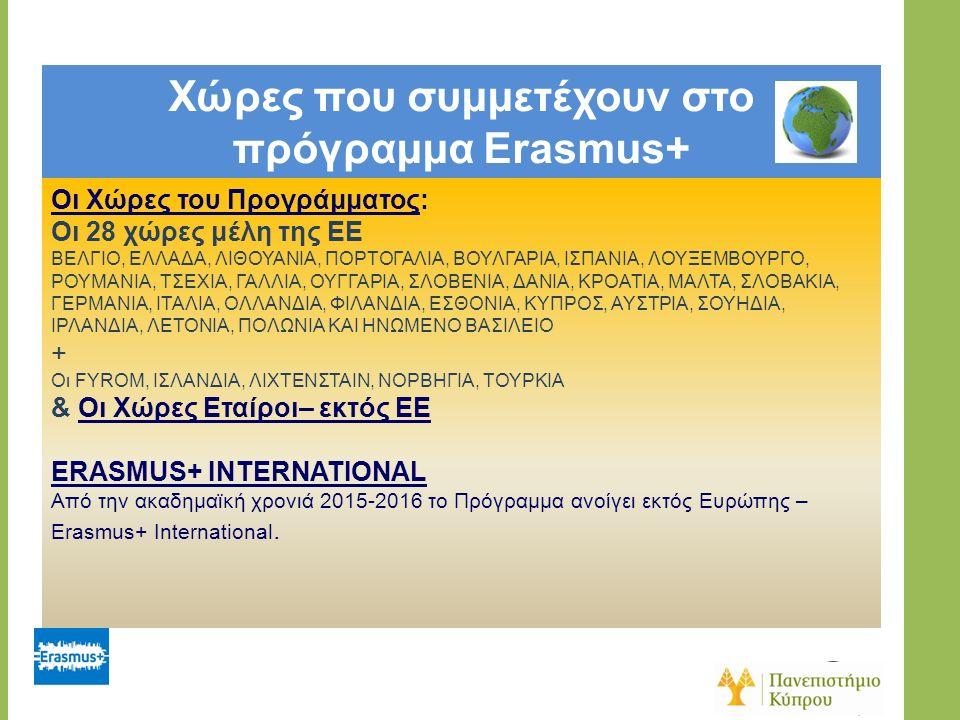 Χώρες που συμμετέχουν στο πρόγραμμα Erasmus+ Οι Χώρες του Προγράμματος: Οι 28 χώρες μέλη της ΕΕ ΒΕΛΓΙΟ, ΕΛΛΑΔΑ, ΛΙΘΟΥΑΝΙΑ, ΠΟΡΤΟΓΑΛΙΑ, ΒΟΥΛΓΑΡΙΑ, ΙΣΠΑ