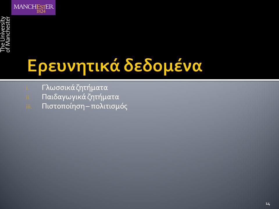 i. Γλωσσικά ζητήματα ii. Παιδαγωγικά ζητήματα iii. Πιστοποίηση – πολιτισμός 14