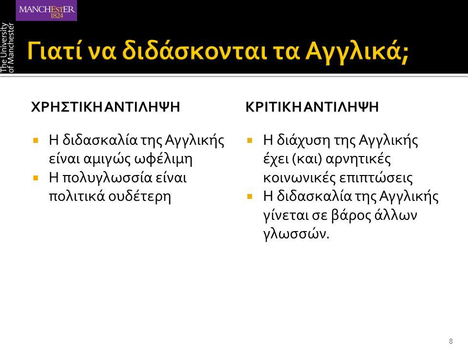 Υπόδειγμα Διεθνοποίησης Πιστοποίηση από ξένους φορείς Αγγλοκεντρικά πολιτιστικά πρότυπα Πρότυπη γλώσσα Υπόδειγμα Διαφοροποίησης Γραμματικο-κεντρική προσέγγιση Δασκαλοκεντρική παιδαγωγική 19