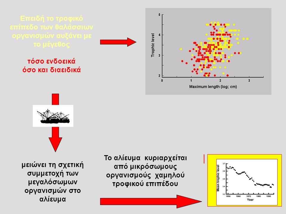 Eπειδή το τροφικό επίπεδο των θαλάσσιων οργανισμών αυξάνει με το μέγεθος τόσο ενδοεικά όσο και διαειδικά μειώνει τη σχετική συμμετοχή των μεγαλόσωμων οργανισμών στο αλίευμα Το αλίευμα κυριαρχείται από μικρόσωμους οργανισμούς χαμηλού τροφικού επιπέδου