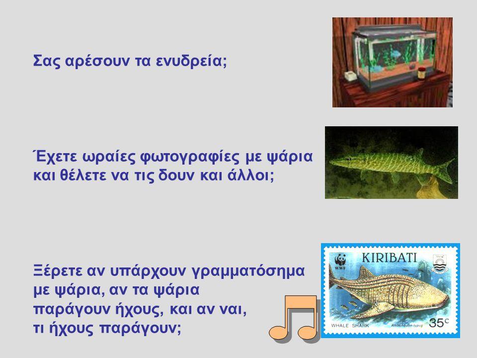 Σας αρέσουν τα ενυδρεία; Έχετε ωραίες φωτογραφίες με ψάρια και θέλετε να τις δουν και άλλοι; Ξέρετε αν υπάρχουν γραμματόσημα με ψάρια, αν τα ψάρια παράγουν ήχους, και αν ναι, τι ήχους παράγουν;