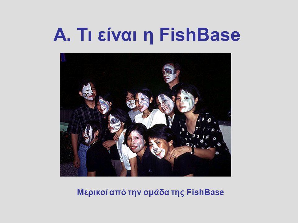 Α. Τι είναι η FishBase Μερικοί από την ομάδα της FishBase