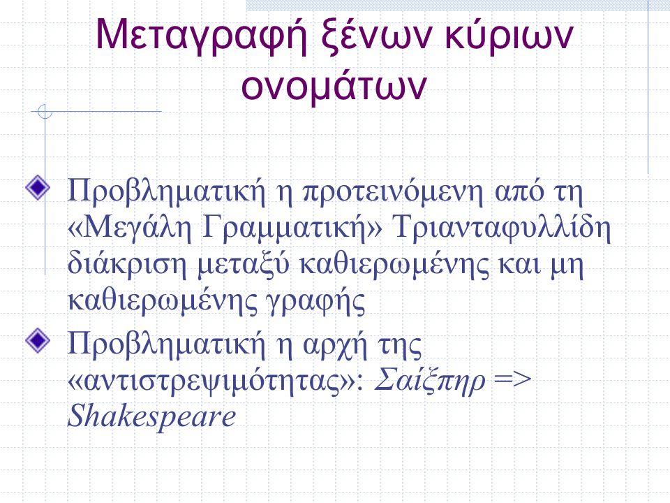 Μεταγραφή ξένων κύριων ονομάτων Προβληματική η προτεινόμενη από τη «Μεγάλη Γραμματική» Τριανταφυλλίδη διάκριση μεταξύ καθιερωμένης και μη καθιερωμένης