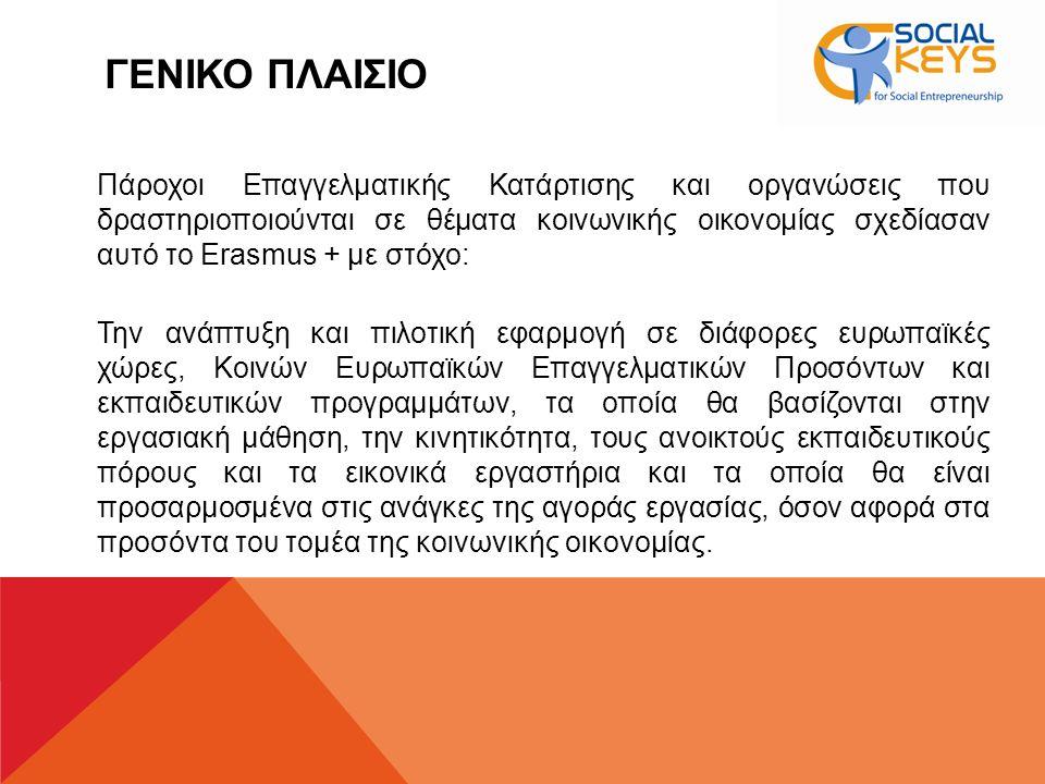 ΓΕΝΙΚΟ ΠΛΑΙΣΙΟ Πάροχοι Επαγγελματικής Κατάρτισης και οργανώσεις που δραστηριοποιούνται σε θέματα κοινωνικής οικονομίας σχεδίασαν αυτό το Erasmus + με στόχο: Την ανάπτυξη και πιλοτική εφαρμογή σε διάφορες ευρωπαϊκές χώρες, Κοινών Ευρωπαϊκών Επαγγελματικών Προσόντων και εκπαιδευτικών προγραμμάτων, τα οποία θα βασίζονται στην εργασιακή μάθηση, την κινητικότητα, τους ανοικτούς εκπαιδευτικούς πόρους και τα εικονικά εργαστήρια και τα οποία θα είναι προσαρμοσμένα στις ανάγκες της αγοράς εργασίας, όσον αφορά στα προσόντα του τομέα της κοινωνικής οικονομίας.