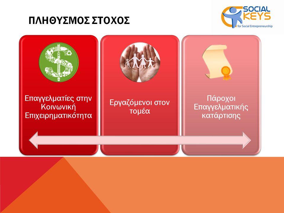 ΠΛΗΘΥΣΜΟΣ ΣΤΟΧΟΣ Επαγγελματίες στην Κοινωνική Επιχειρηματικότητα Εργαζόμενοι στον τομέα Πάροχοι Επαγγελματικής κατάρτισης