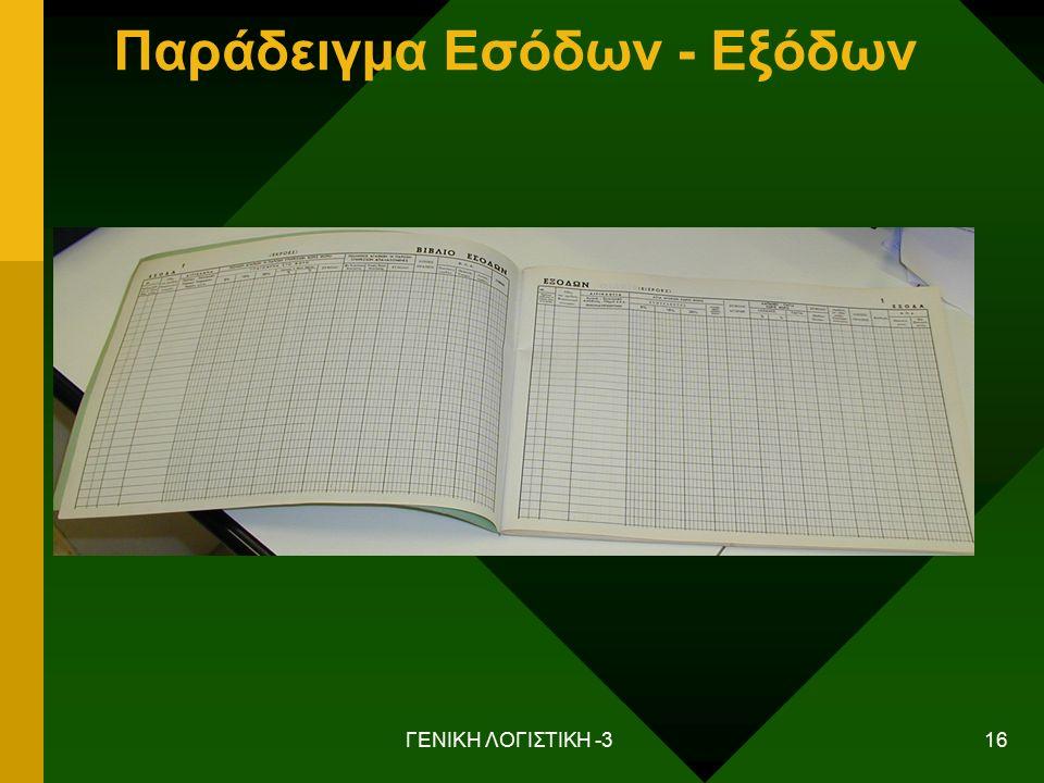 ΓΕΝΙΚΗ ΛΟΓΙΣΤΙΚΗ -3 16 Παράδειγμα Εσόδων - Εξόδων