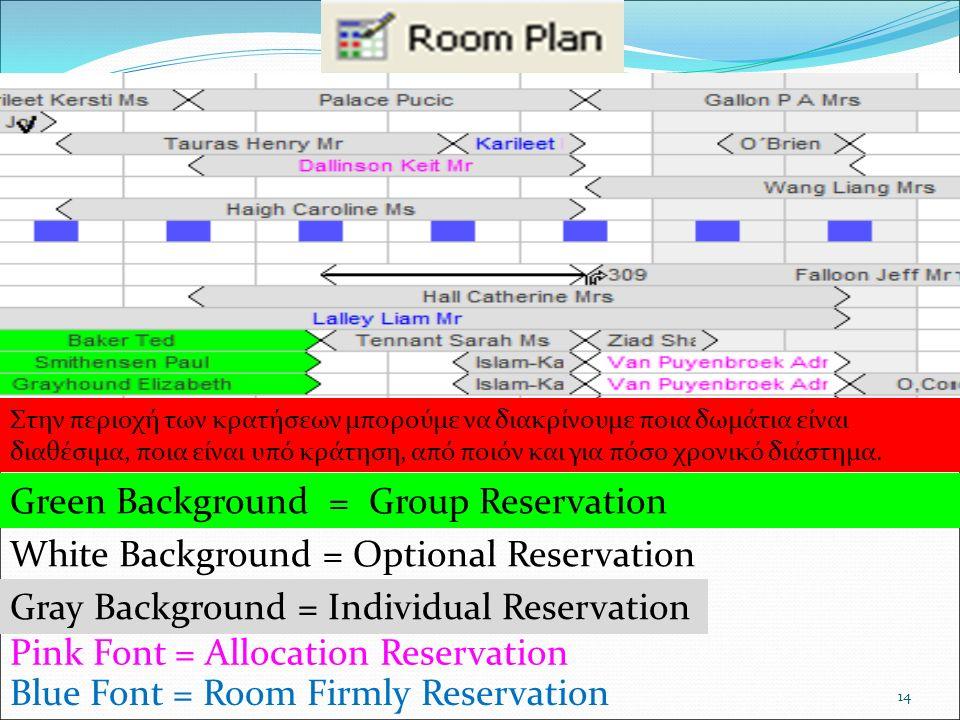 14 Στην περιοχή των κρατήσεων μπορούμε να διακρίνουμε ποια δωμάτια είναι διαθέσιμα, ποια είναι υπό κράτηση, από ποιόν και για πόσο χρονικό διάστημα. G