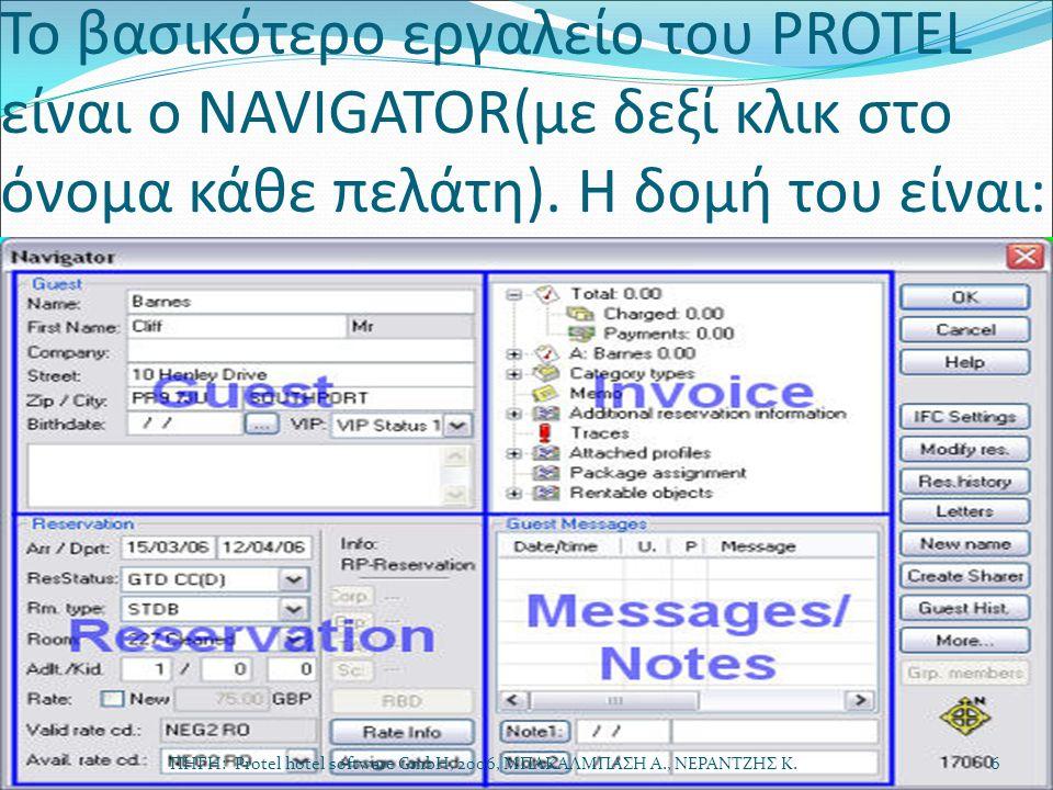 Το βασικότερο εργαλείο του PROTEL είναι ο NAVIGATOR(με δεξί κλικ στο όνομα κάθε πελάτη). H δομή του είναι: ΠΗΓΗ: Protel hotel software GmbH, 2006, ΜΠΑ