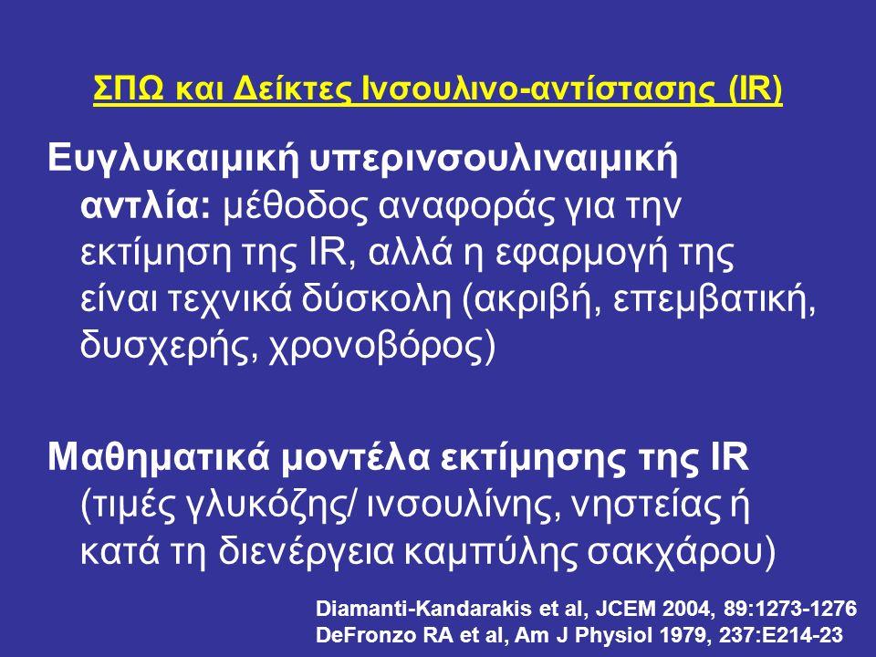 ΣΠΩ και Δείκτες Ινσουλινο-αντίστασης (IR) Ευγλυκαιμική υπερινσουλιναιμική αντλία: μέθοδος αναφοράς για την εκτίμηση της IR, αλλά η εφαρμογή της είναι τεχνικά δύσκολη (ακριβή, επεμβατική, δυσχερής, χρονοβόρος) Μαθηματικά μοντέλα εκτίμησης της IR (τιμές γλυκόζης/ ινσουλίνης, νηστείας ή κατά τη διενέργεια καμπύλης σακχάρου) Diamanti-Kandarakis et al, JCEM 2004, 89:1273-1276 DeFronzo RA et al, Am J Physiol 1979, 237:E214-23