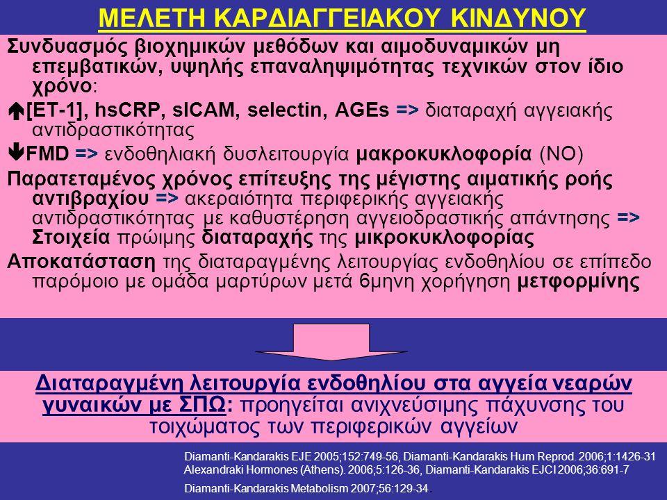 Συνδυασμός βιοχημικών μεθόδων και αιμοδυναμικών μη επεμβατικών, υψηλής επαναληψιμότητας τεχνικών στον ίδιο χρόνο:  [ΕΤ-1], hsCRP, sICAM, selectin, AGEs => διαταραχή αγγειακής αντιδραστικότητας  FMD => ενδοθηλιακή δυσλειτουργία μακροκυκλοφορία (ΝΟ) Παρατεταμένος χρόνος επίτευξης της μέγιστης αιματικής ροής αντιβραχίου => ακεραιότητα περιφερικής αγγειακής αντιδραστικότητας με καθυστέρηση αγγειοδραστικής απάντησης => Στοιχεία πρώιμης διαταραχής της μικροκυκλοφορίας Αποκατάσταση της διαταραγμένης λειτουργίας ενδοθηλίου σε επίπεδο παρόμοιο με ομάδα μαρτύρων μετά 6μηνη χορήγηση μετφορμίνης Διαταραγμένη λειτουργία ενδοθηλίου στα αγγεία νεαρών γυναικών με ΣΠΩ: προηγείται ανιχνεύσιμης πάχυνσης του τοιχώματος των περιφερικών αγγείων ΜΕΛΕΤΗ ΚΑΡΔΙΑΓΓΕΙΑΚΟΥ ΚΙΝΔΥΝΟΥ Diamanti-Kandarakis EJE 2005;152:749-56, Diamanti-Kandarakis Hum Reprod.