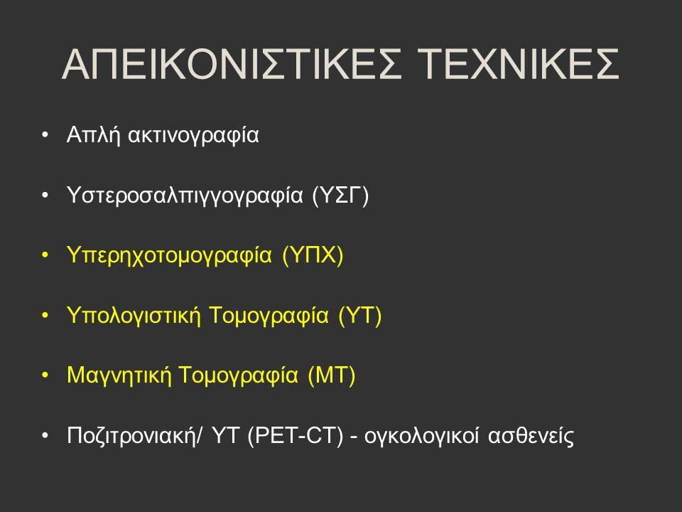ΑΠΕΙΚΟΝΙΣΤΙΚΕΣ ΤΕΧΝΙΚΕΣ Απλή ακτινογραφία Υστεροσαλπιγγογραφία (ΥΣΓ) Υπερηχοτομογραφία (ΥΠΧ) Υπολογιστική Τομογραφία (ΥΤ) Μαγνητική Τομογραφία (ΜΤ) Πο
