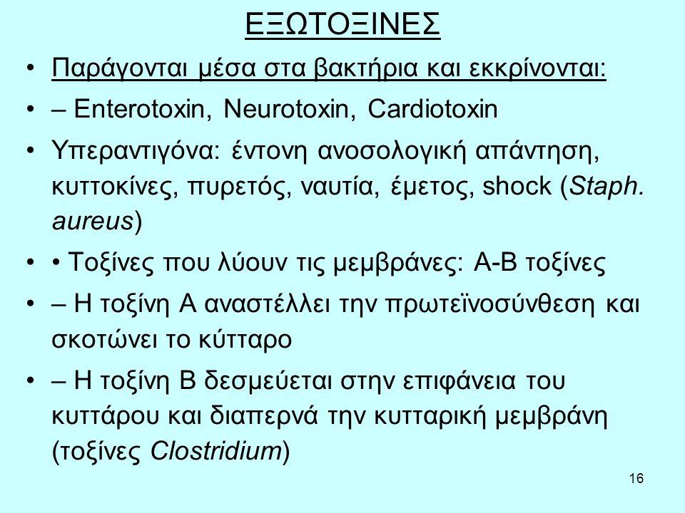 16 ΕΞΩΤΟΞΙΝΕΣ Παράγονται μέσα στα βακτήρια και εκκρίνονται: – Enterotoxin, Neurotoxin, Cardiotoxin Υπεραντιγόνα: έντονη ανοσολογική απάντηση, κυττοκίν