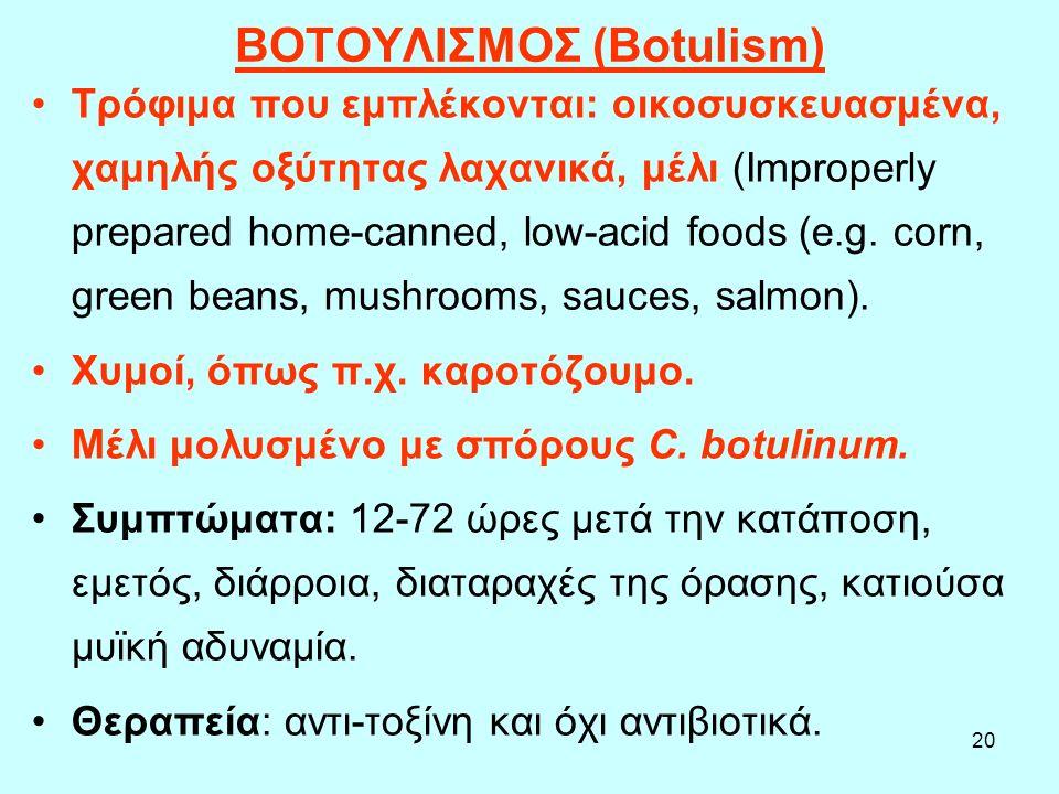 20 ΒΟΤΟΥΛΙΣΜΟΣ (Botulism) Τρόφιμα που εμπλέκονται: οικοσυσκευασμένα, χαμηλής οξύτητας λαχανικά, μέλι (Improperly prepared home-canned, low-acid foods
