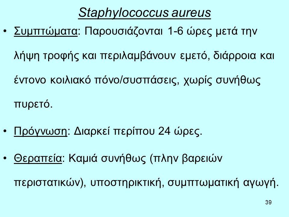 39 Staphylococcus aureus Συμπτώματα: Παρουσιάζονται 1-6 ώρες μετά την λήψη τροφής και περιλαμβάνουν εμετό, διάρροια και έντονο κοιλιακό πόνο/συσπάσεις