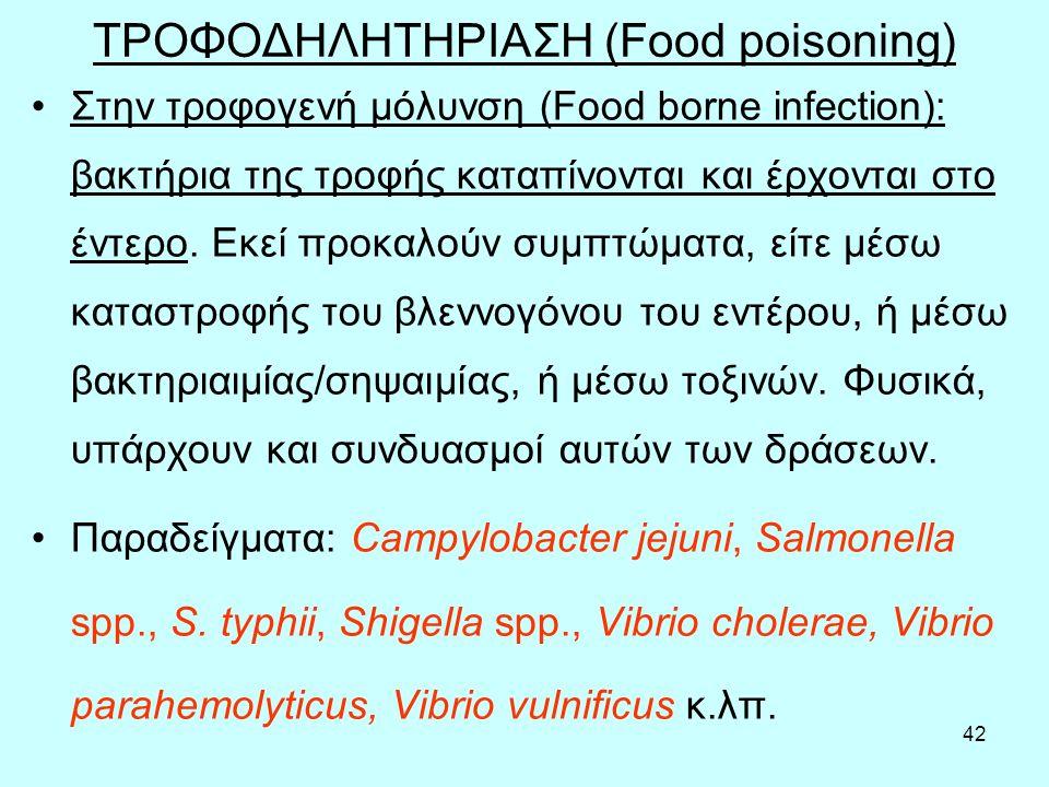 42 ΤΡΟΦΟΔΗΛΗΤΗΡΙΑΣΗ (Food poisoning) Στην τροφογενή μόλυνση (Food borne infection): βακτήρια της τροφής καταπίνονται και έρχονται στο έντερο. Εκεί προ