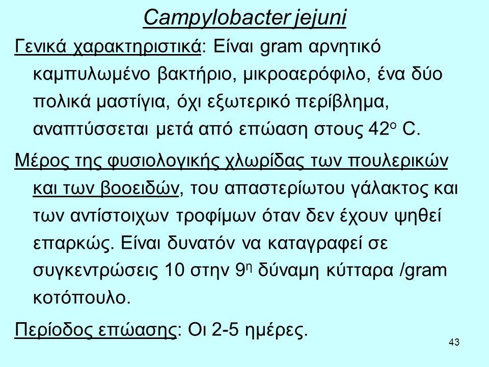43 Campylobacter jejuni Γενικά χαρακτηριστικά: Είναι gram αρνητικό καμπυλωμένο βακτήριο, μικροαερόφιλο, ένα δύο πολικά μαστίγια, όχι εξωτερικό περίβλη