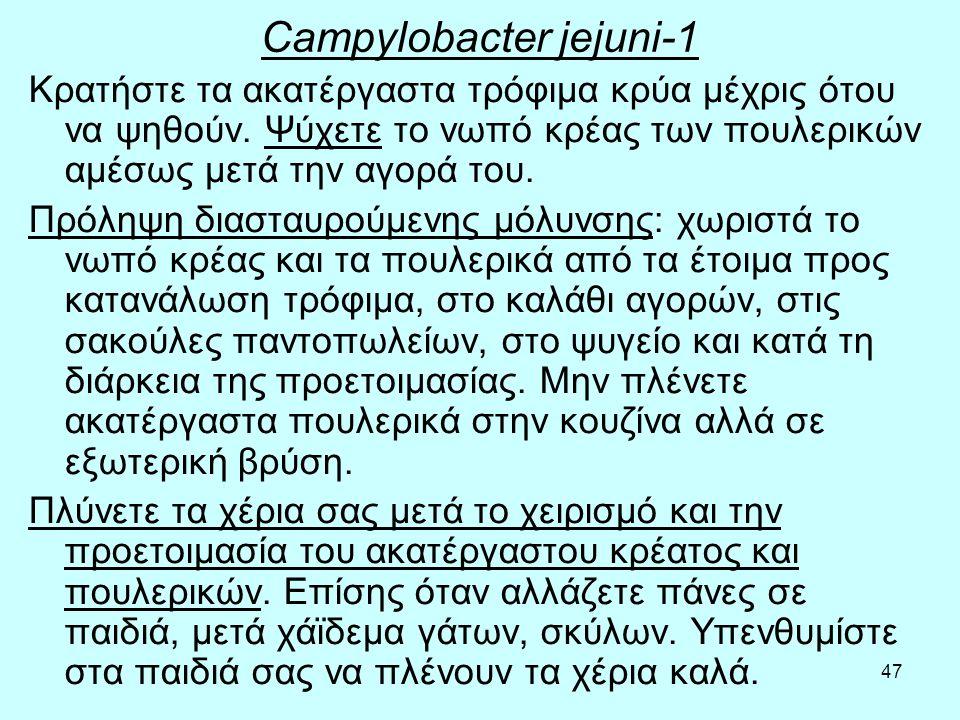 47 Campylobacter jejuni-1 Κρατήστε τα ακατέργαστα τρόφιμα κρύα μέχρις ότου να ψηθούν. Ψύχετε το νωπό κρέας των πουλερικών αμέσως μετά την αγορά του. Π