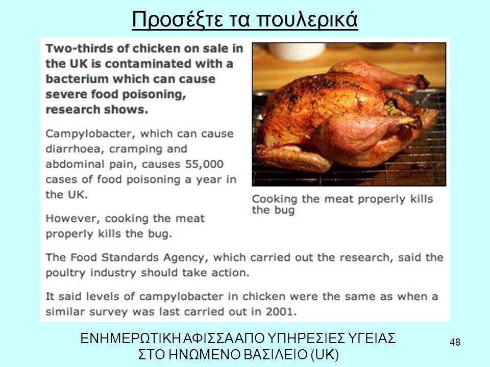 48 Προσέξτε τα πουλερικά ΕΝΗΜΕΡΩΤΙΚΗ ΑΦΙΣΣΑ ΑΠΟ ΥΠΗΡΕΣΙΕΣ ΥΓΕΙΑΣ ΣΤΟ ΗΝΩΜΕΝΟ ΒΑΣΙΛΕΙΟ (UK)