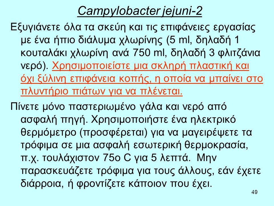 49 Campylobacter jejuni-2 Εξυγιάνετε όλα τα σκεύη και τις επιφάνειες εργασίας με ένα ήπιο διάλυμα χλωρίνης (5 ml, δηλαδή 1 κουταλάκι χλωρίνη ανά 750 m